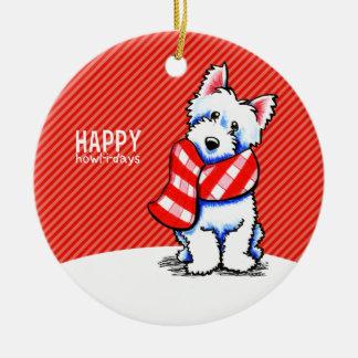 Aullido-yo-días felices del navidad de la bufanda adorno navideño redondo de cerámica