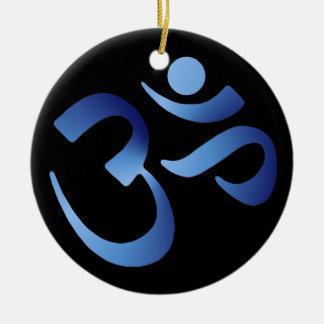 Aum azul adorno navideño redondo de cerámica