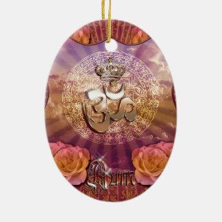 AUM Crown emblem roses yoga mediation Ceramic Ornament