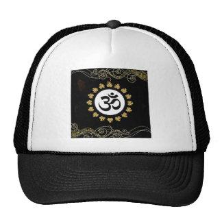 Aum Hindu Sacred Sound Symbol black gold white Mesh Hats