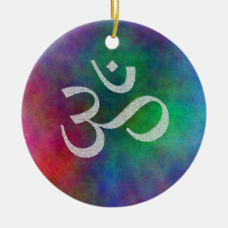 Aum - Om Double-Sided Ceramic Round Christmas Ornament