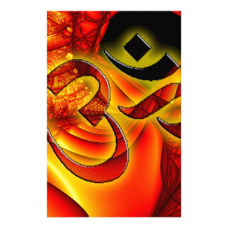 Aum om on Fractal red and yellow Stationery