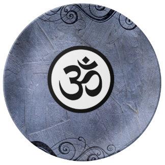 Aum Om Sacred Hindu Meditation Symbol Blue Black Porcelain Plates