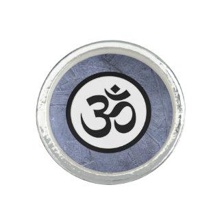 Aum Om Sacred Hindu Meditation Symbol Blue Black Photo Ring