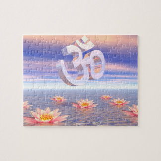Aum - om upon waterlilies - 3D render Jigsaw Puzzle