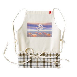 Aum - om upon waterlilies - 3D render Zazzle HEART Apron
