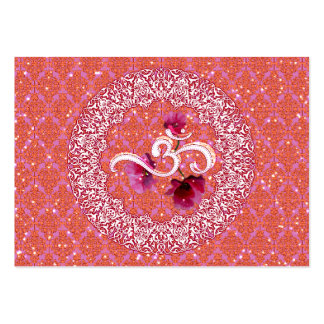 AUM OM Yoga Meditation Spirituality pink white Large Business Card