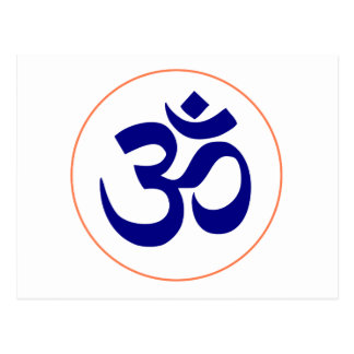 Aum or Om Symbol (Blue with Coral Ring) Postcard