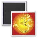 Aum or Om Symbol in yellows & reds 2 Inch Square Magnet