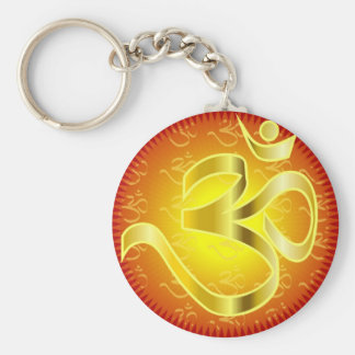 Aum or Om Symbol in yellows & reds Basic Round Button Keychain