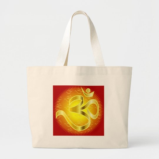 Aum or Om Symbol in yellows & reds Large Tote Bag