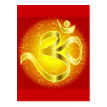 Aum or Om Symbol in yellows & reds Post Card
