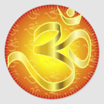 Aum or Om Symbol in yellows & reds Round Sticker