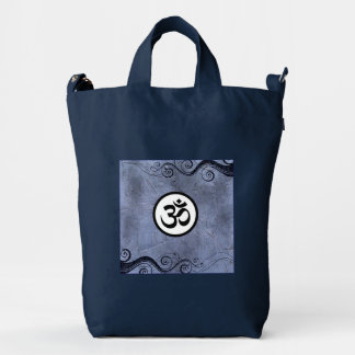Aum Symbol Black and White on Blue Duck Bag