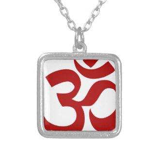Aum Symbol (Dark red, minimal) Silver Plated Necklace