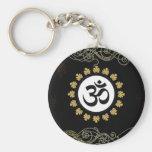 Aum Symbol Mantra Meditation Black and Gold Basic Round Button Keychain