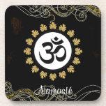 Aum Symbol Mantra Meditation Black and Gold Beverage Coaster