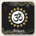 Aum Symbol Mantra Meditation Black and Gold Coasters