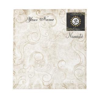 Aum Symbol Mantra Meditation Black and Gold Notepad