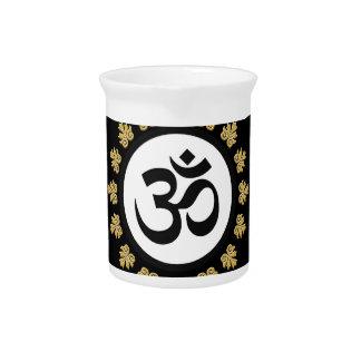 Aum Symbol Mantra Meditation Black and Gold Drink Pitcher