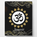 Aum Symbol Mantra Meditation Black and Gold Display Plaques
