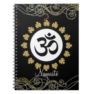 Aum Symbol Mantra Meditation Black and Gold Spiral Notebook