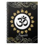 Aum Symbol Mantra Meditation Black and Gold Spiral Notebooks