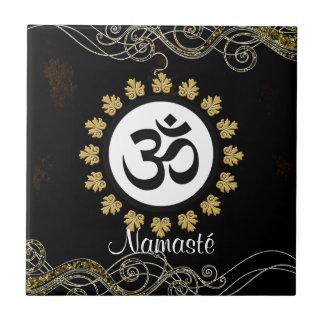 Aum Symbol Mantra Meditation Black and Gold Tile