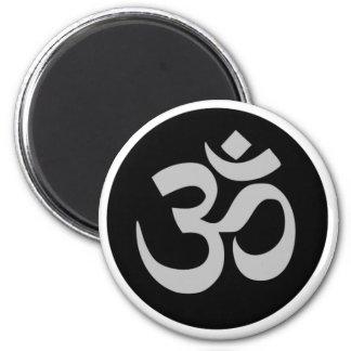 Aum Symbol, Silver and Black Magnet