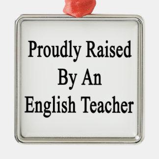 Aumentado orgulloso por un profesor de inglés adorno navideño cuadrado de metal