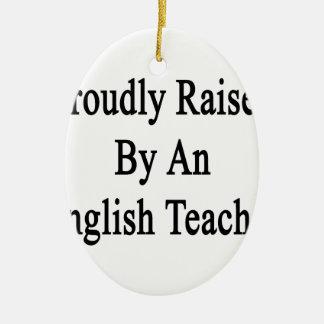 Aumentado orgulloso por un profesor de inglés adorno navideño ovalado de cerámica