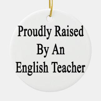 Aumentado orgulloso por un profesor de inglés adorno navideño redondo de cerámica