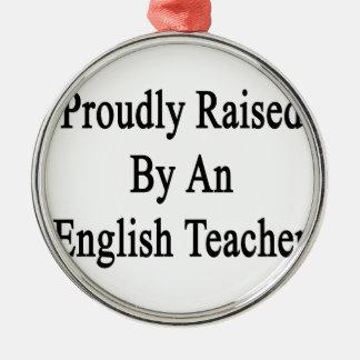 Aumentado orgulloso por un profesor de inglés adorno navideño redondo de metal