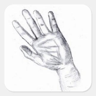 Aumente su mano pegatina cuadrada
