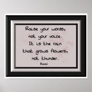 Aumente sus palabras - cita de Rumi - impresión