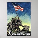 Aumento de la bandera en Iwo Jima -- Frontera Posters