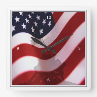 Aumento de la bandera en Iwo Jima Reloj De Pared