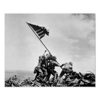Aumento de la bandera en Iwo Jima -- WW2 Impresiones
