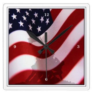 Aumento de la bandera en Iwo Jima WW2 Reloj Cuadrado