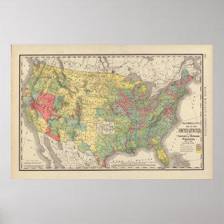 Aumento de población de Estados Unidos, 1880-1890 Póster