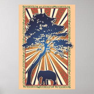 Aumento de Sun del elefante de la paz del árbol de Póster