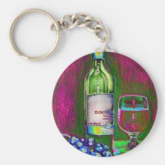 Aún arte moderno de la vida del vino y de las uvas llaveros