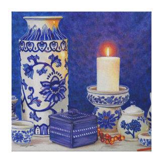 Aún dibujo de cerámica blanco azul de la vida en impresiones en lona estiradas