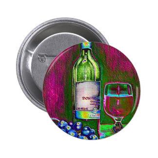 Aún el arte moderno de la vida del vino y las uvas pin redondo 5 cm