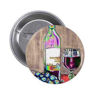 Aún el arte moderno de la vida del vino y las uvas pin redondo de 2 pulgadas
