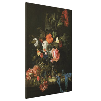 Aún flores florales de la vida en el florero, impresiones en lona