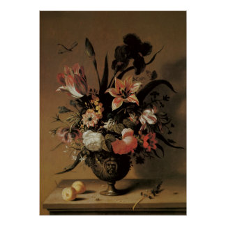 Aún flores florales de la vida en el florero, poster