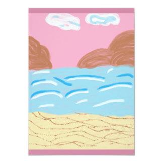 """Aun pintado representación del mar invitación 4.5"""" x 6.25"""""""