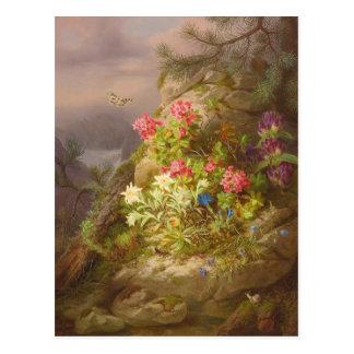 Aún-vida de José Lauer con las flores y el caracol Postal