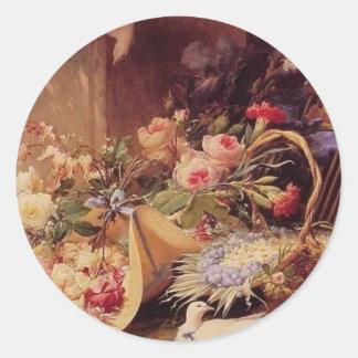 Aún vida elegante con las flores pegatina redonda